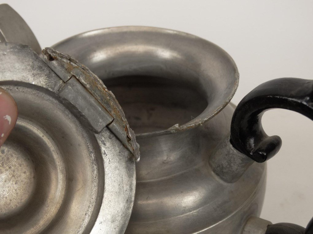 19th c. Pewter Teapots - 9