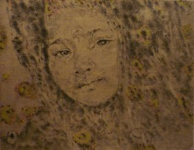 9: DAVID KUNZLI #9 Charcoal drawing and oil painting on