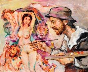 Walter SPITZER Le Peintre Avec Les Filles De Loth