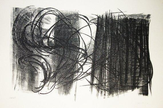 76: HARTUNG HANS original lithograph in black on Guarro