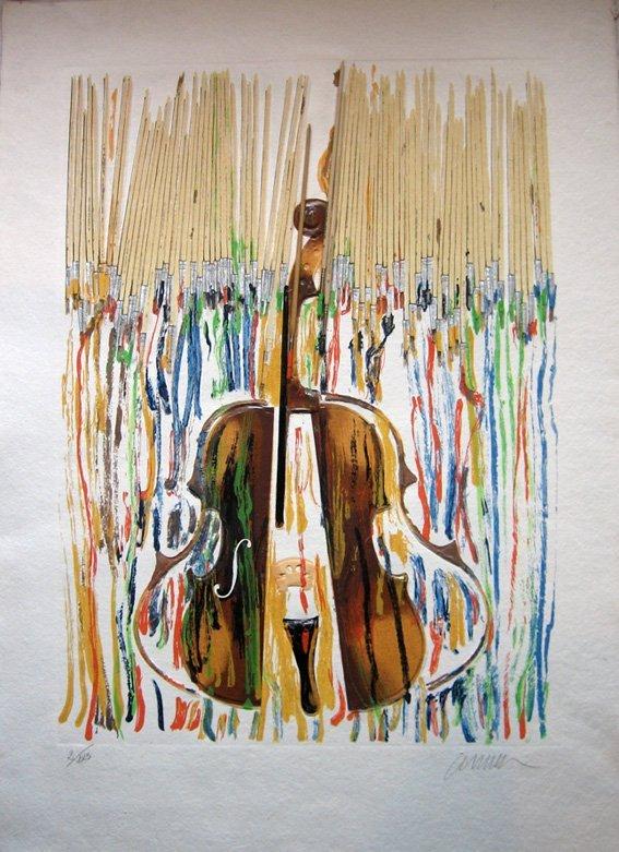"""83: ARMAN""""Pinceaux et violon"""" original lithograph in co"""