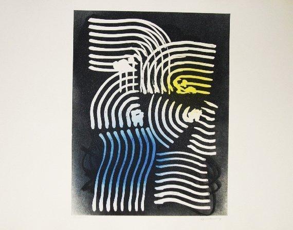 88: HARTUNG HANS 1971original coloured lithograph on Gu