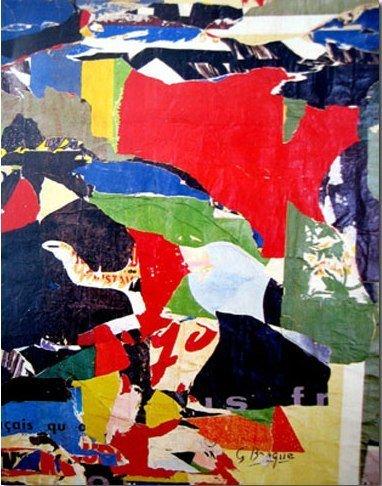 91: VILLEGLE silkscreen planed down on canvas