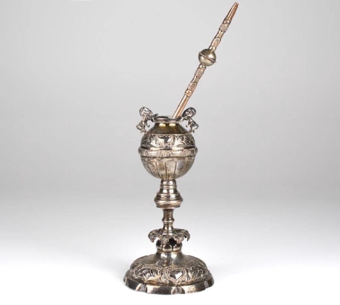 SOUTH AMERICAN SILVER MATE STRAW AND CUP