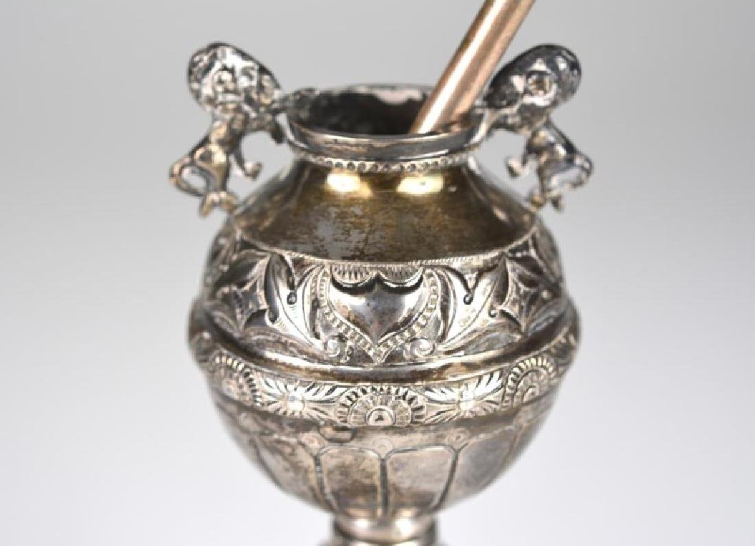 SOUTH AMERICAN SILVER MATE STRAW AND CUP - 2