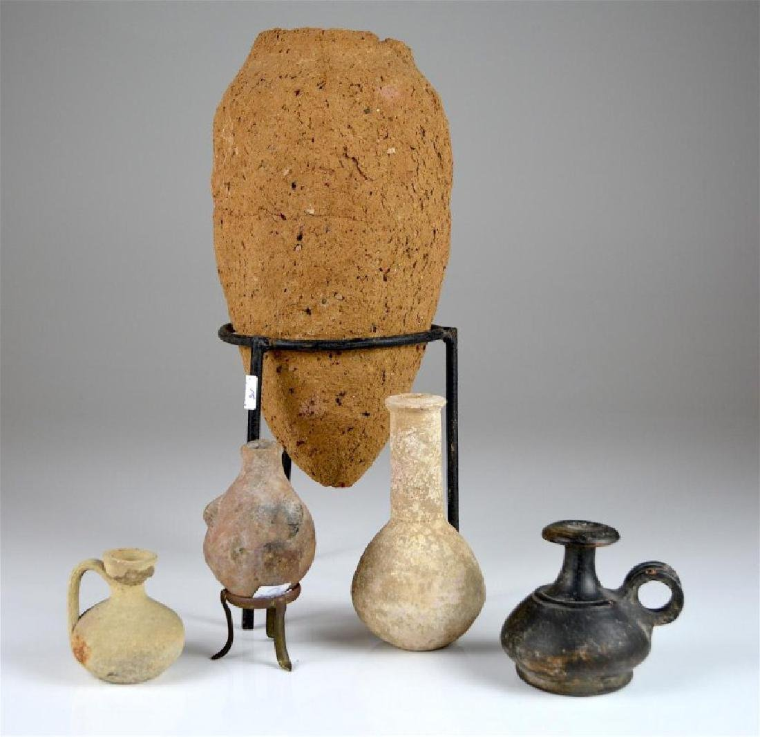 FIVE ANCIENT POTTERY VESSELS