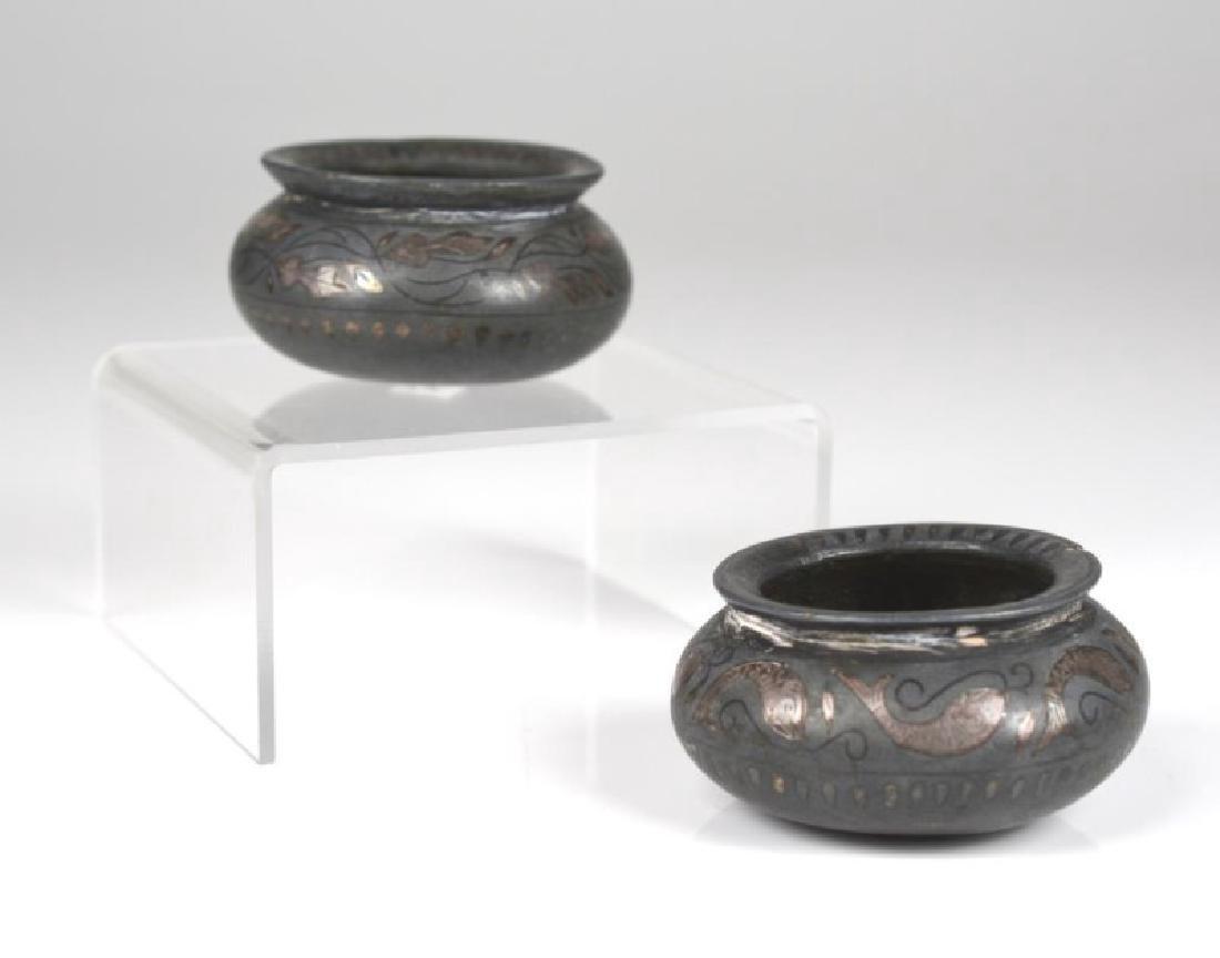 TWO INDIAN BIDRI WARE CUPS WITH SILVER INLAY