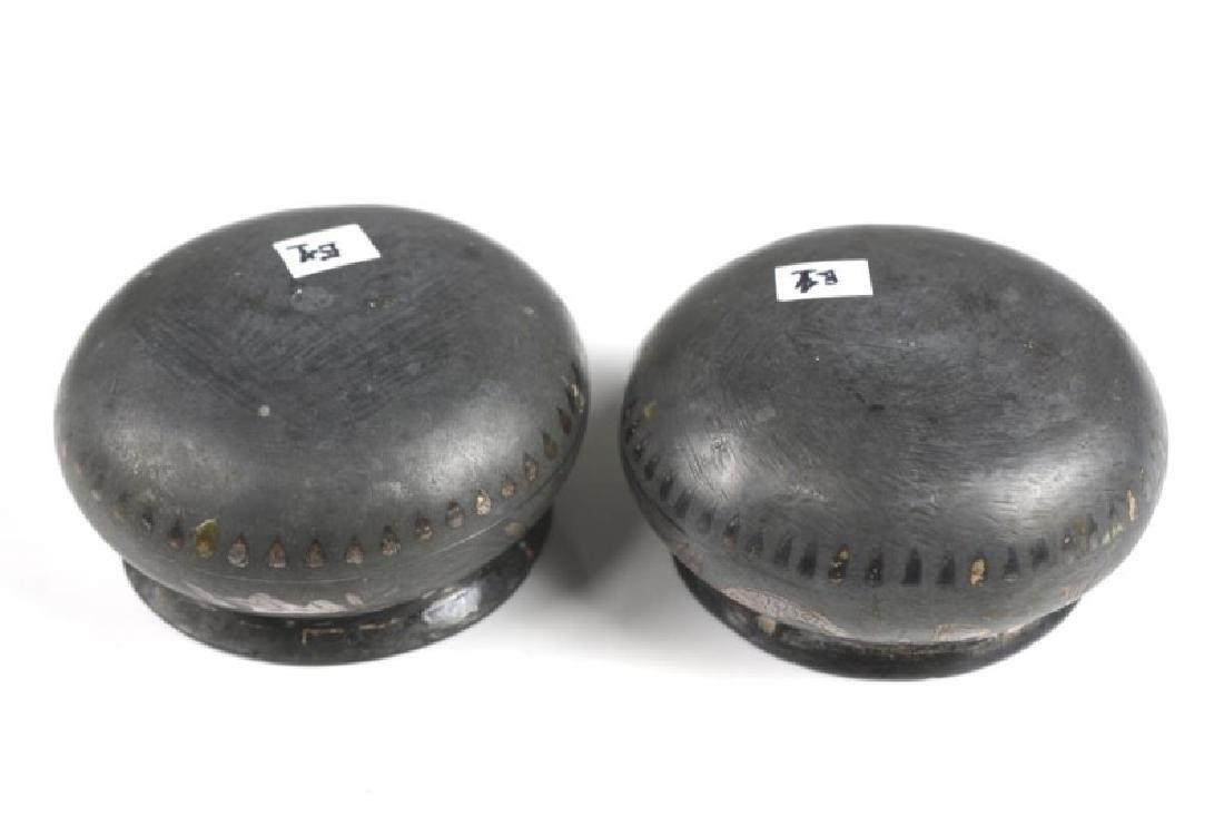 TWO INDIAN BIDRI WARE CUPS WITH SILVER INLAY - 4