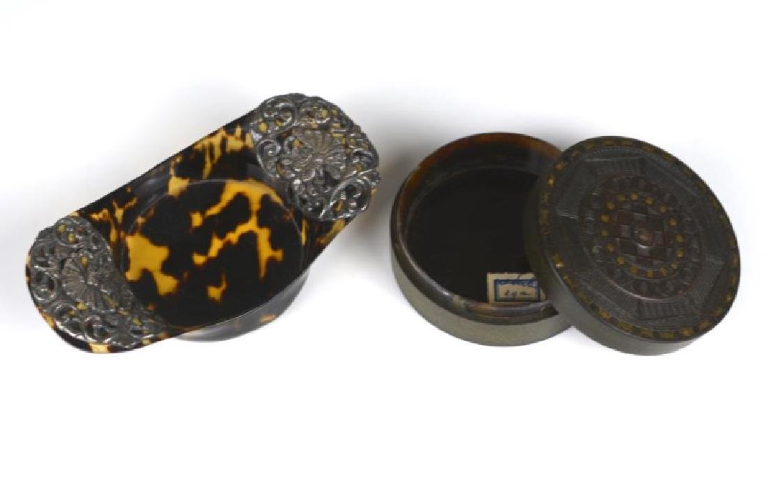 TWO TORTOISE SHELL CONTAINERS
