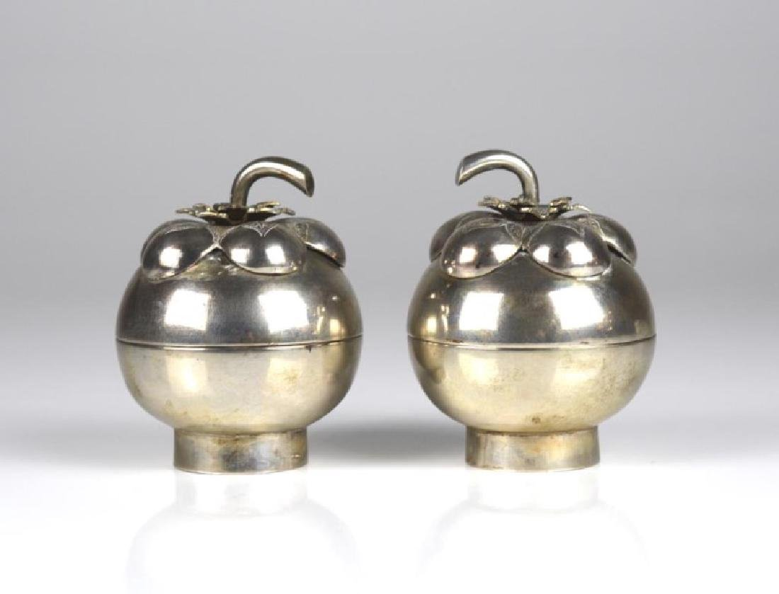 PAIR OF STRAITS CHINESE SILVER CONTAINERS