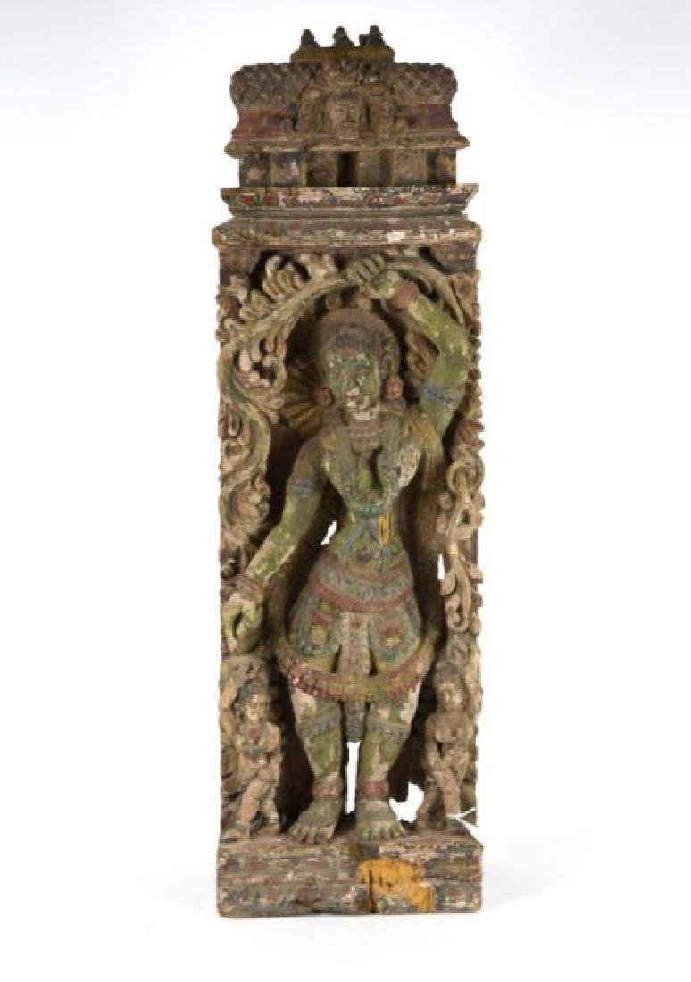 POLYCHROME HINDU GODDESS TEMPLE CARVING