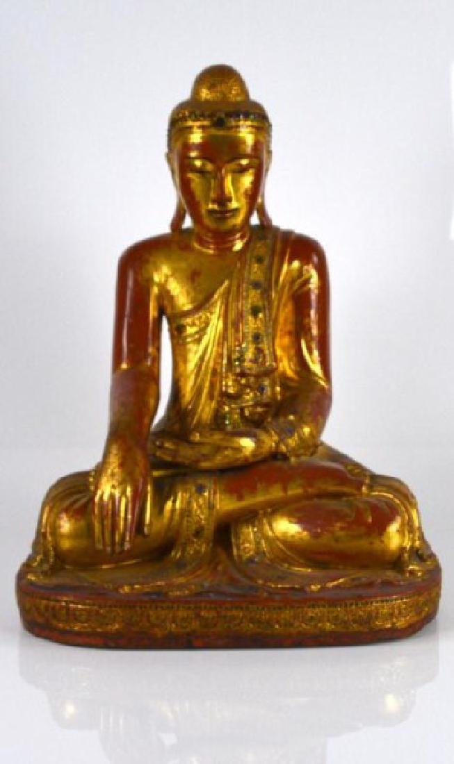 BURMESE MANDALAY PERIOD WOODEN BUDDHA WITH INLAYS