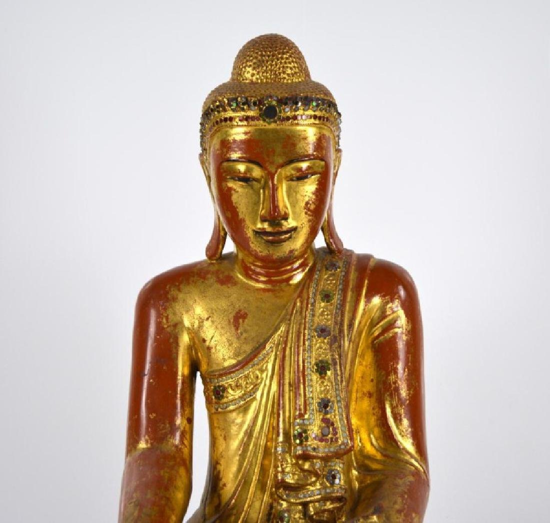 BURMESE MANDALAY PERIOD WOODEN BUDDHA WITH INLAYS - 2