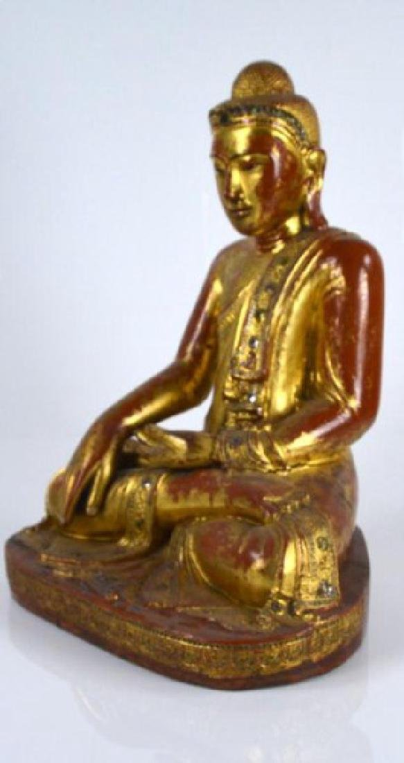 BURMESE MANDALAY PERIOD WOODEN BUDDHA WITH INLAYS - 4