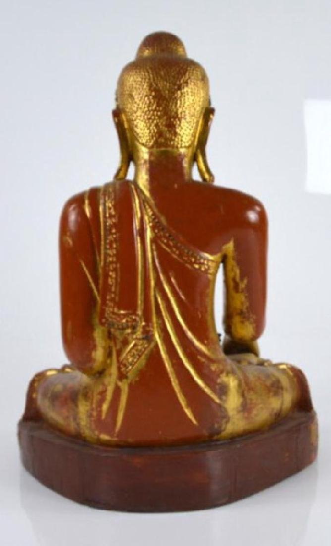 BURMESE MANDALAY PERIOD WOODEN BUDDHA WITH INLAYS - 5