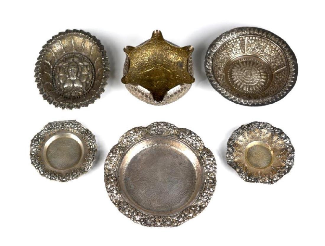 SIX SOUTH EAST ASIAN AND INDIAN SILVER TRAYS