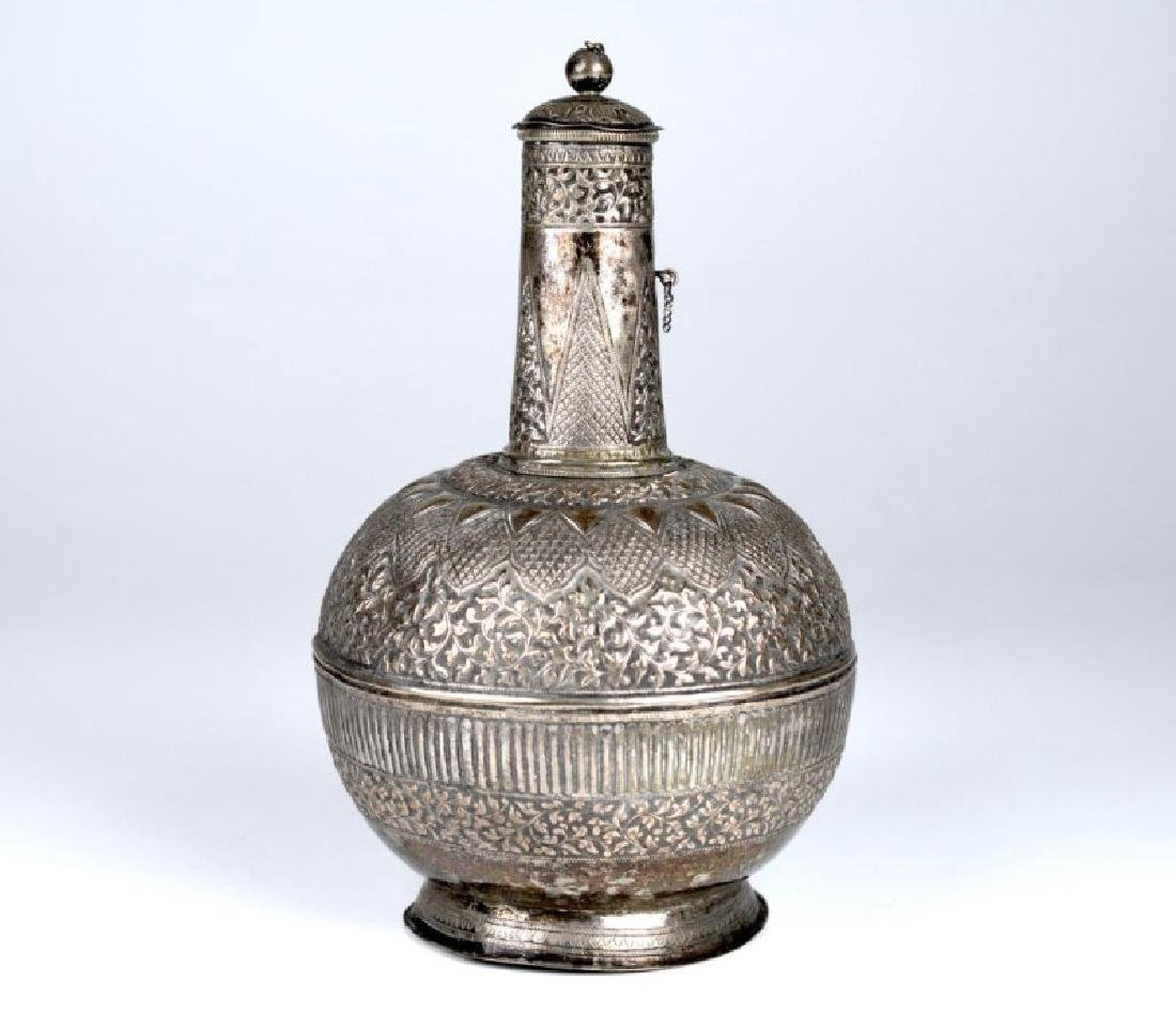 SOUTH EAST ASIAN SILVER ROSEWATER BOTTLE