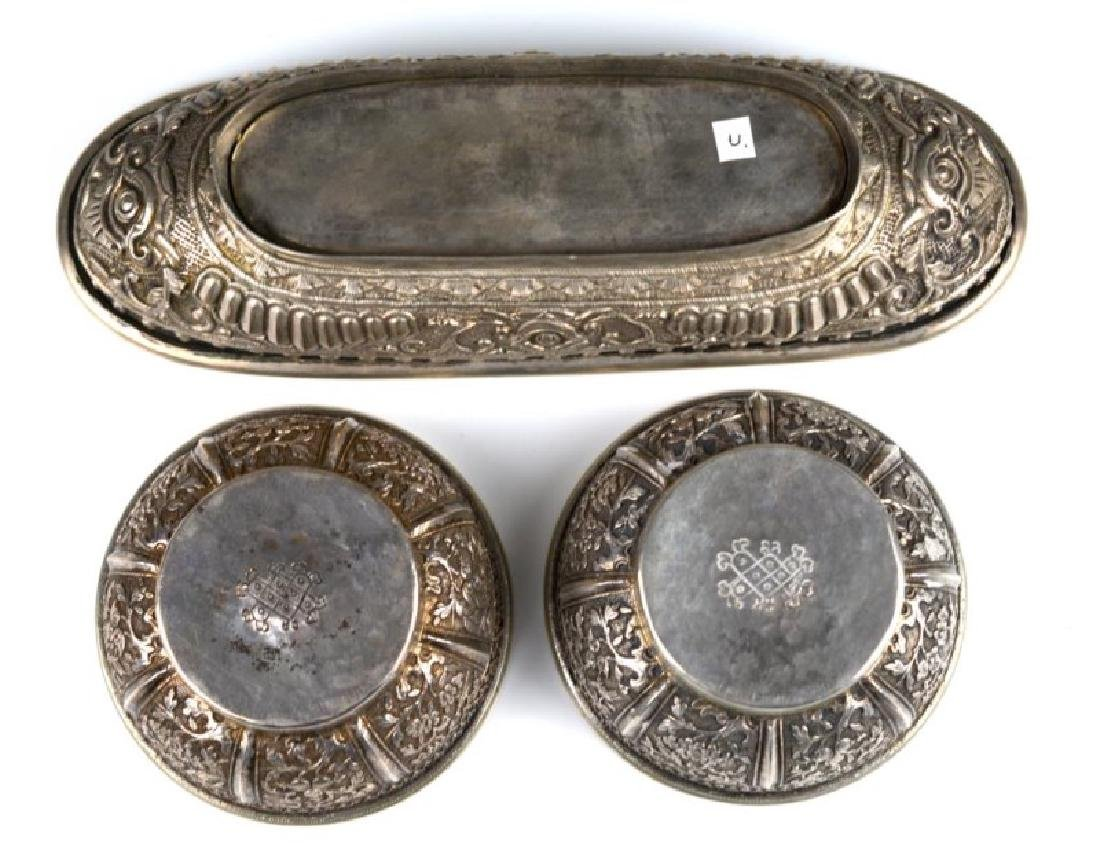 THREE SOUTH EAST ASIAN SILVER BETEL NUT CONTAINERS - 2