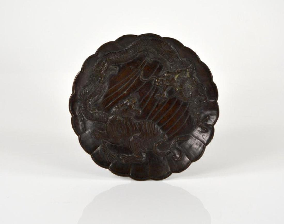 JAPANESE BRONZE DRAGON AND TIGER PLATE
