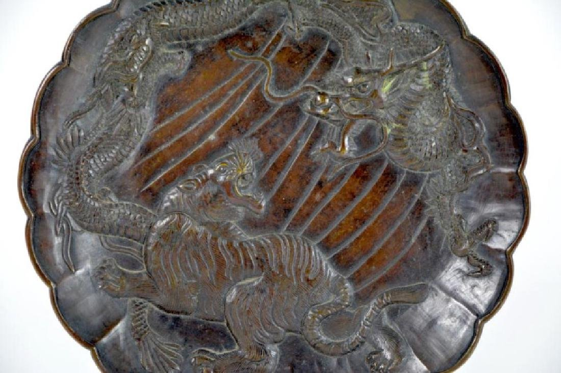JAPANESE BRONZE DRAGON AND TIGER PLATE - 2