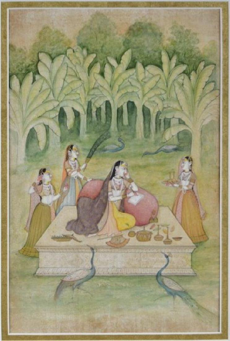 FIVE 19TH C. HAND-PAINTED INDIAN MINIATURES - 10