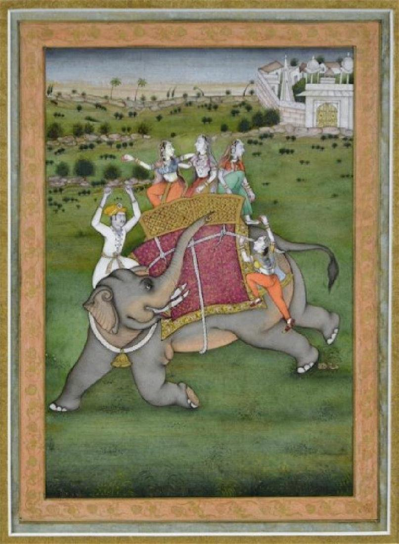 FIVE 19TH C. HAND-PAINTED INDIAN MINIATURES