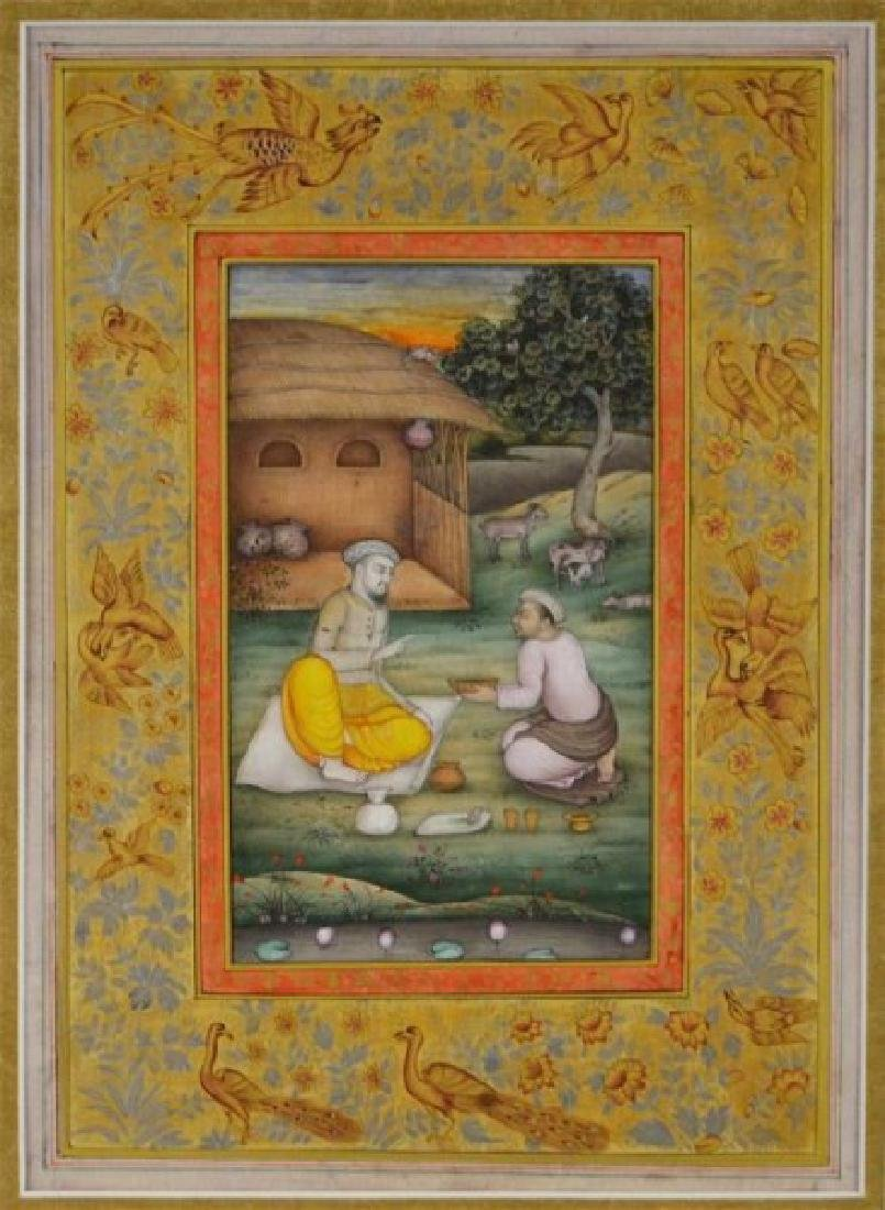 FIVE 19TH C. HAND-PAINTED INDIAN MINIATURES - 4