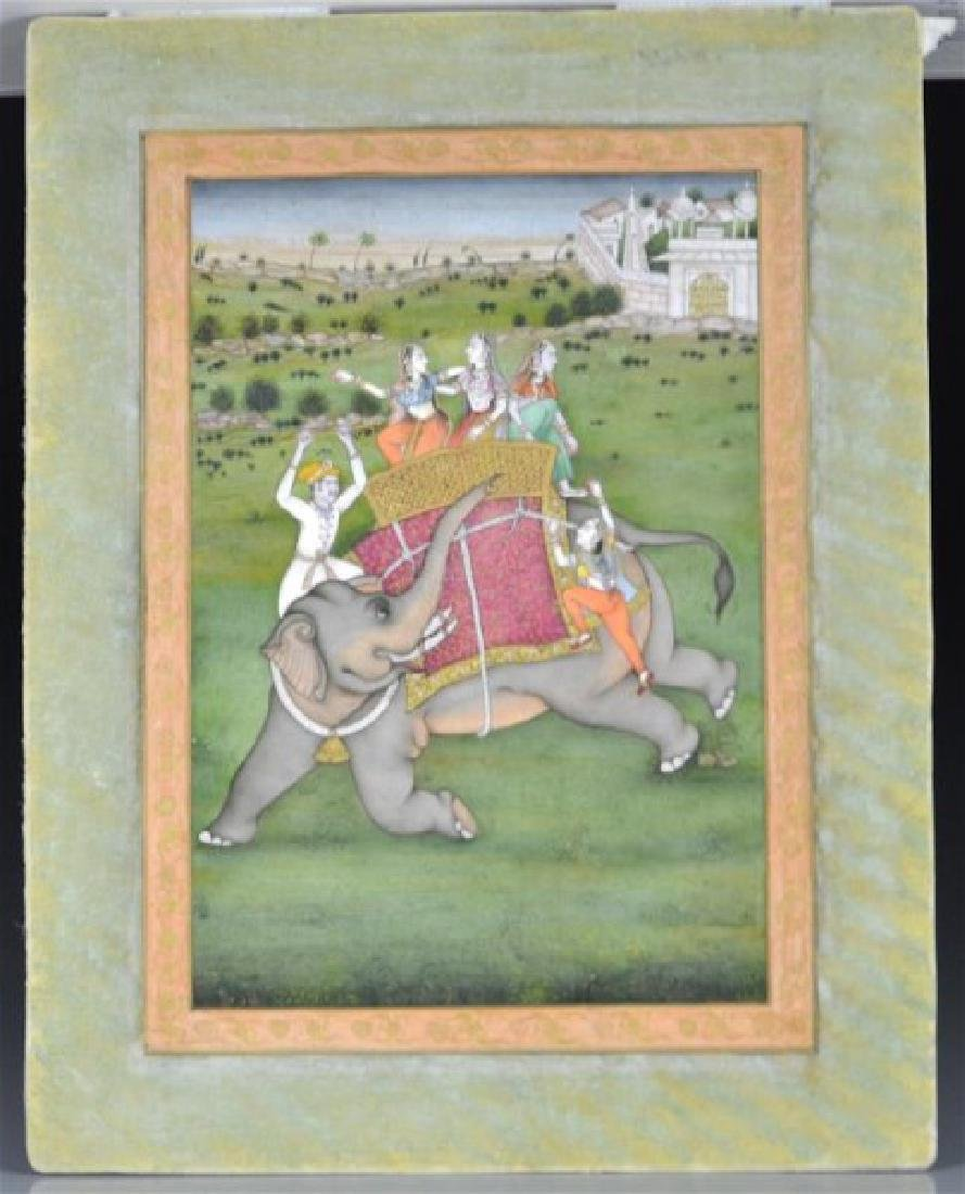 FIVE 19TH C. HAND-PAINTED INDIAN MINIATURES - 7