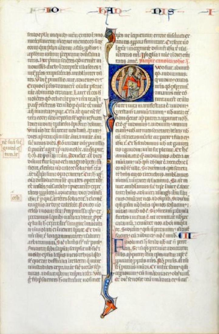 12th CENTURY MEDIEVAL BIBLE LEAF