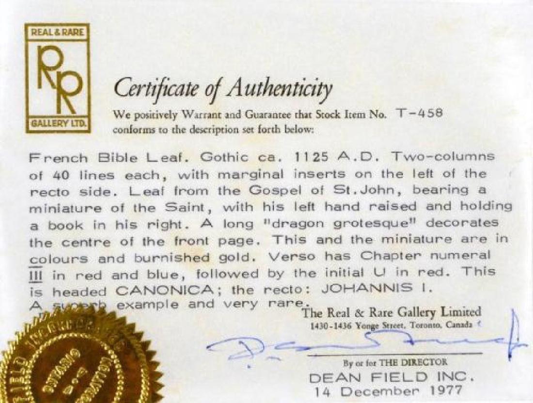 12th CENTURY MEDIEVAL BIBLE LEAF - 4
