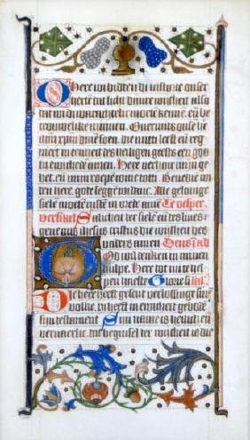 15th CENTURY DUTCH  MANUSCRIPT LEAF
