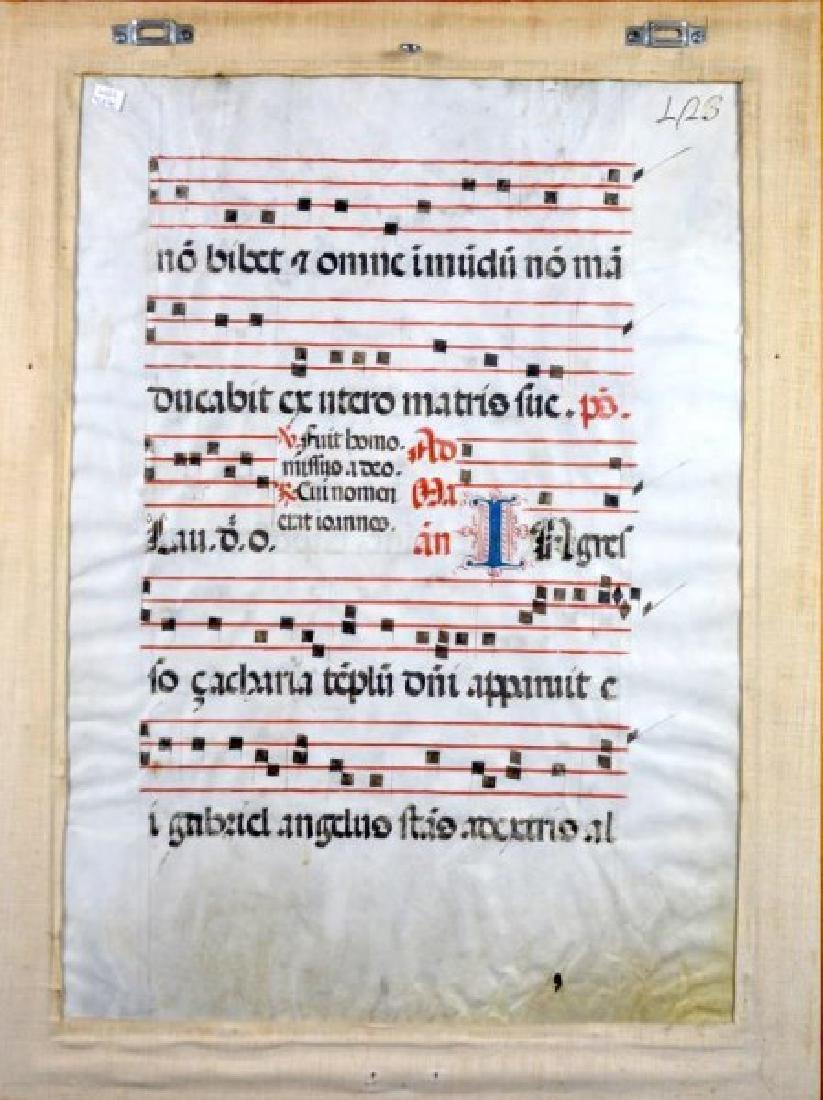 FRAMED MUSICAL MANUSCRIPT ON VELLUM - 3