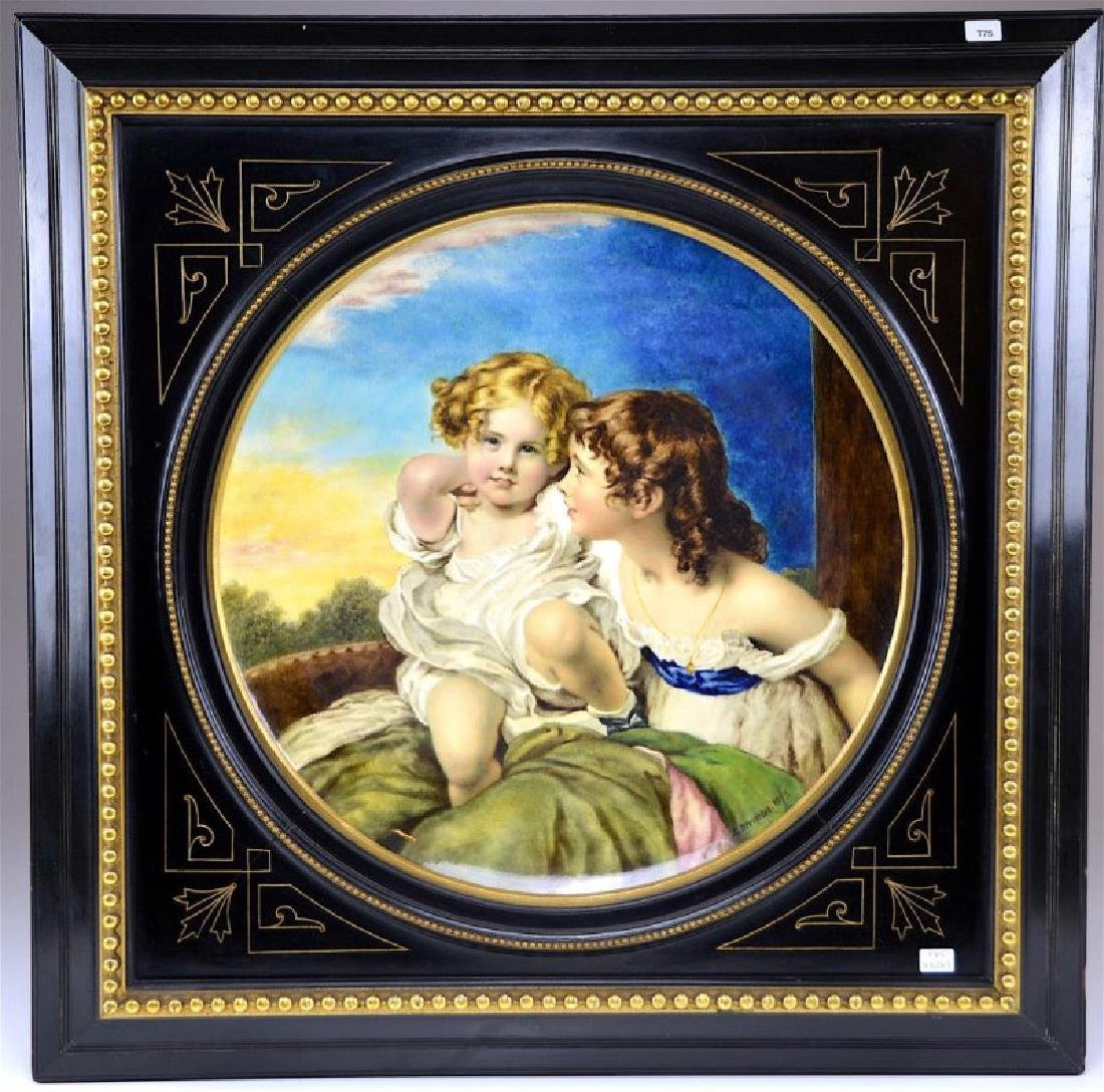 FRAMED MINTON HAND PAINTED PORCELAIN CHARGER