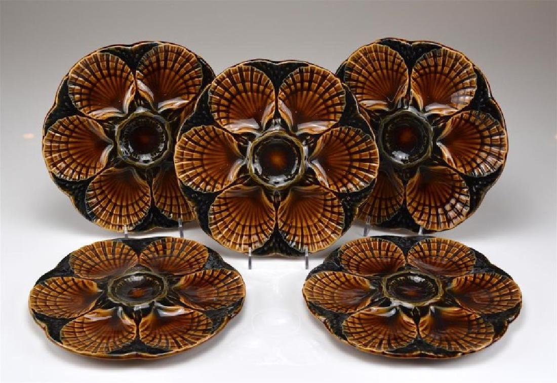 FIVE FRENCH MAJOLICA OYSTER DISHES