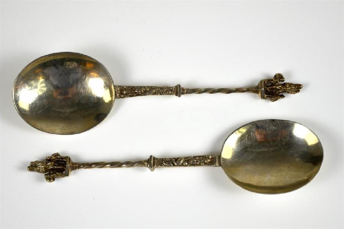 PAIR OF CONTINENTAL SILVER SERVING SPOONS