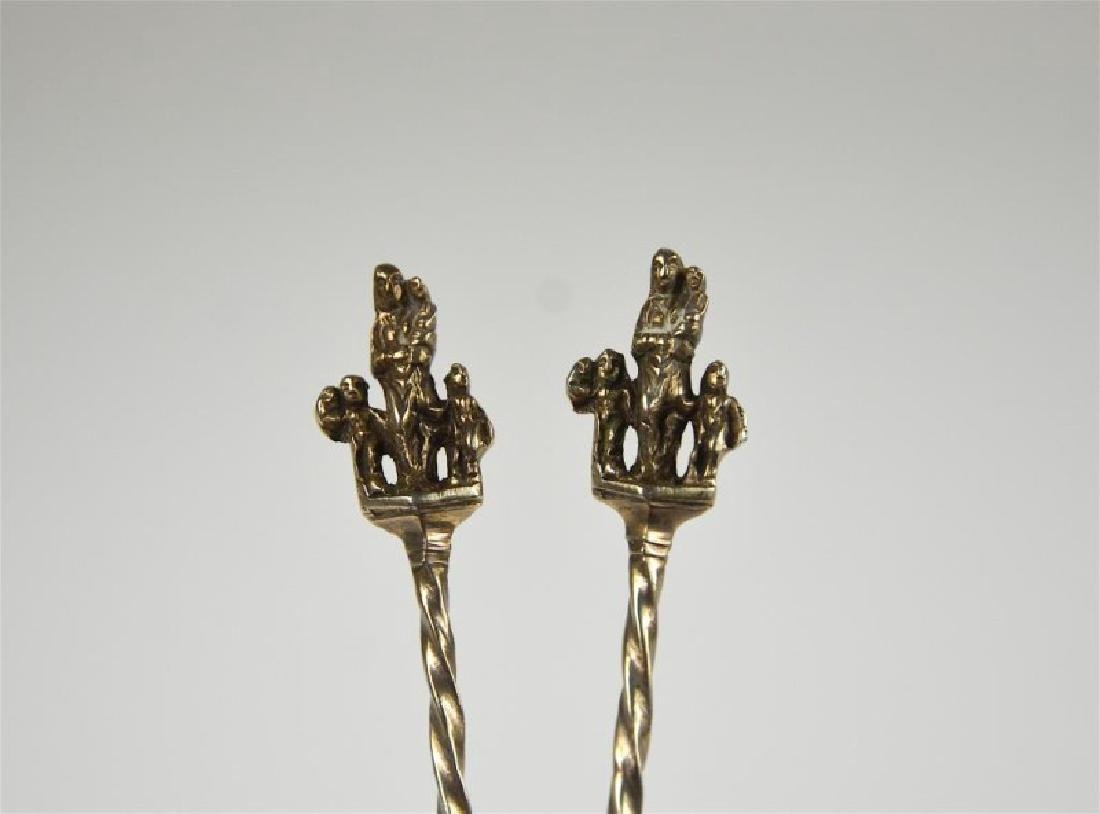 PAIR OF CONTINENTAL SILVER SERVING SPOONS - 2