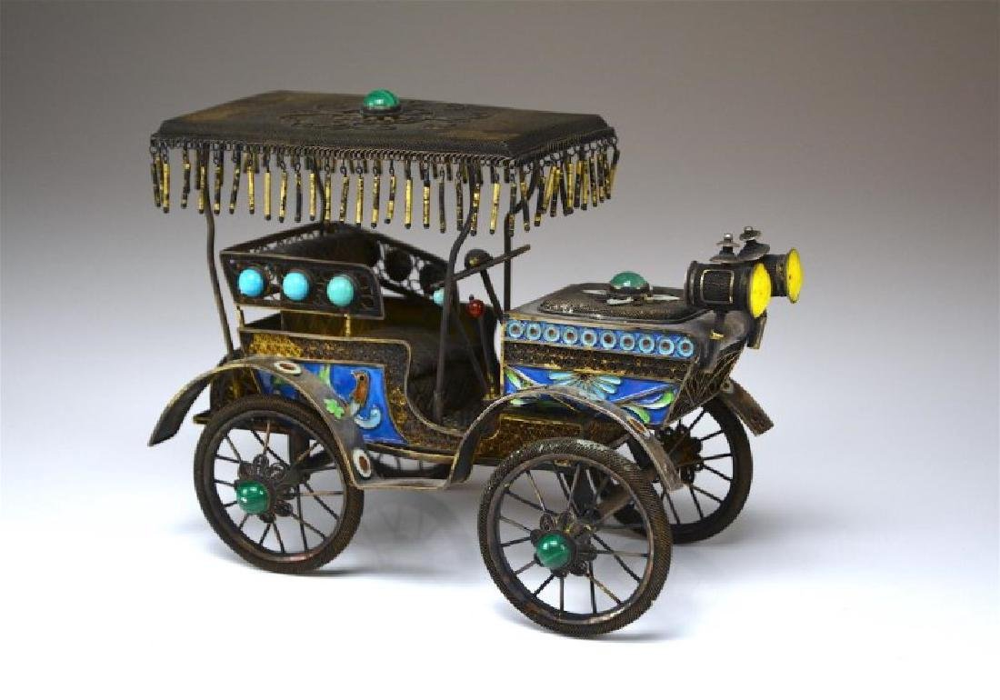 CHINESE SILVER FILIGREE AND ENAMEL CAR