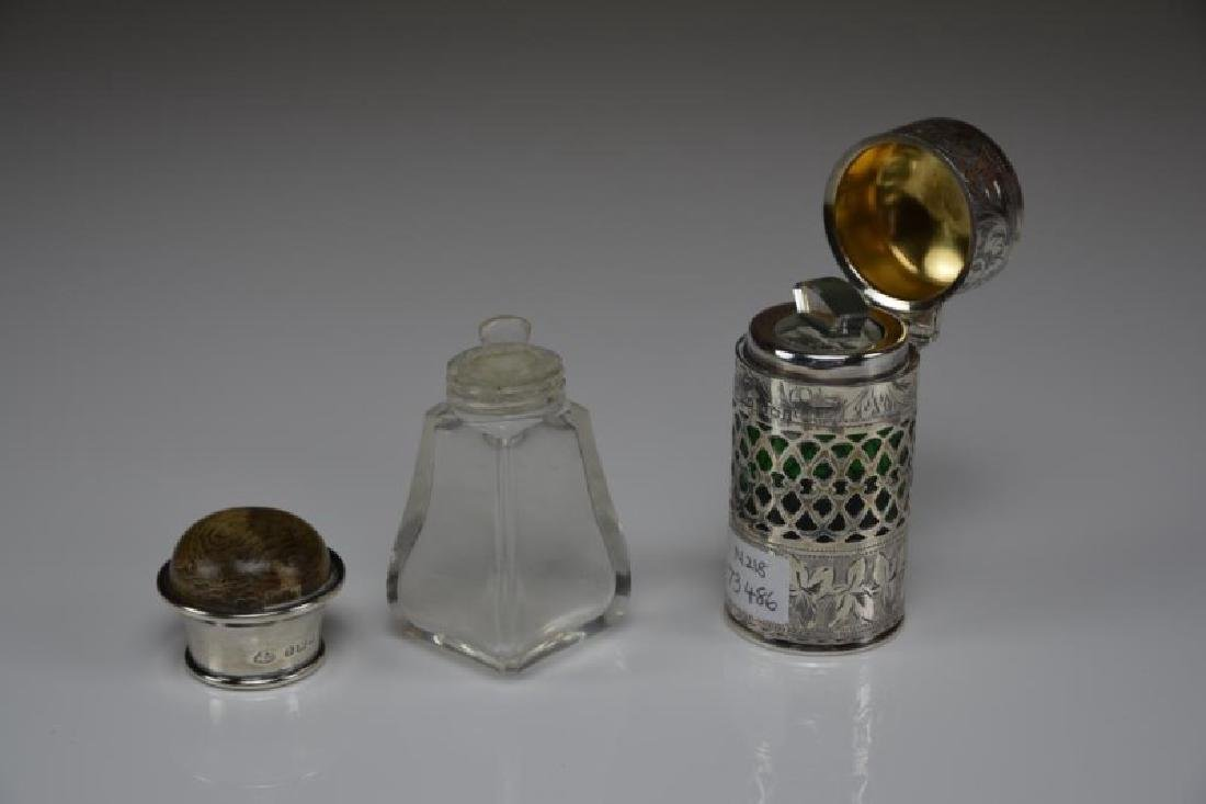 TWO ENGLISH SILVER MOUNTED SCENT BOTTLES - 2