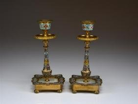 PAIR OF FRENCH CHAMPLEVE CANDLESTICKS