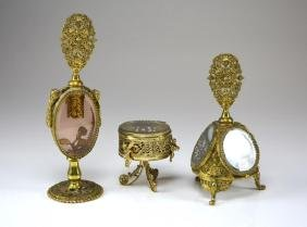 THREE CZECH FILIGREE METAL VANITY PIECES