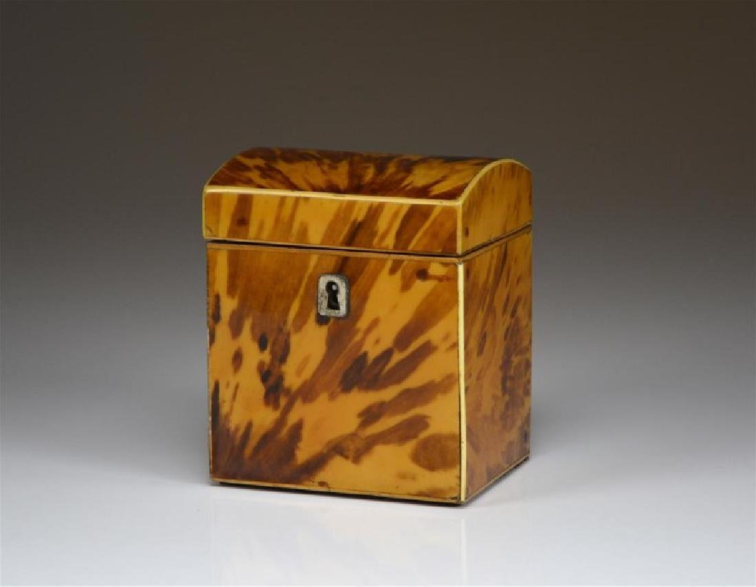 ANTIQUE TORTOISE SHELL LINED TEA CADDY
