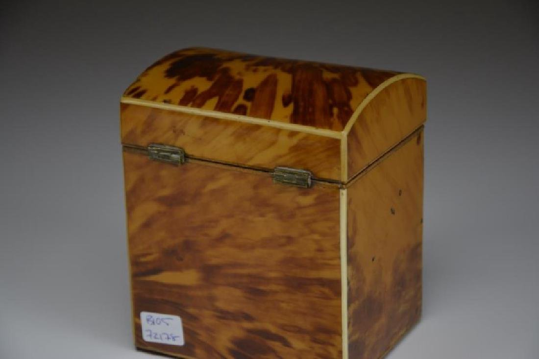 ANTIQUE TORTOISE SHELL LINED TEA CADDY - 2