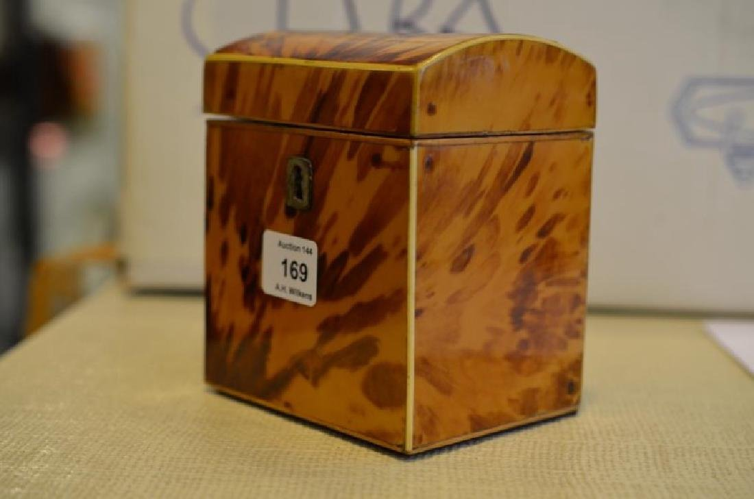 ANTIQUE TORTOISE SHELL LINED TEA CADDY - 4