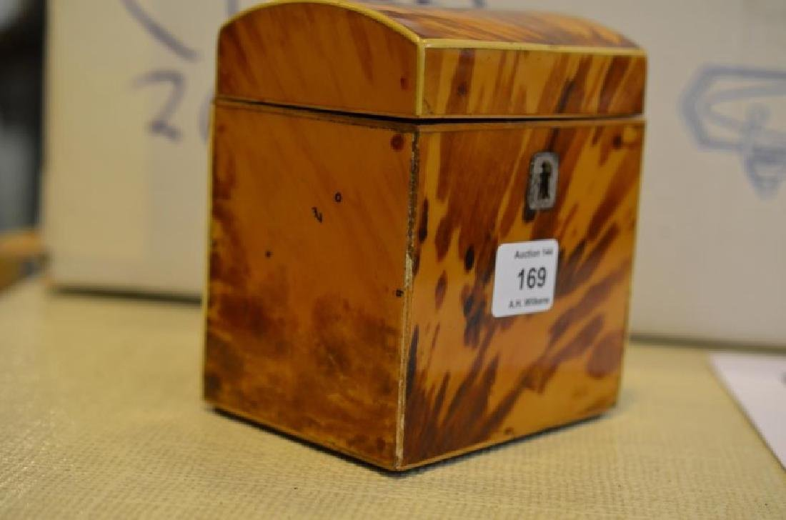 ANTIQUE TORTOISE SHELL LINED TEA CADDY - 5