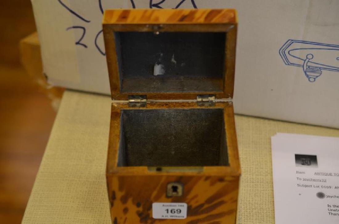 ANTIQUE TORTOISE SHELL LINED TEA CADDY - 6