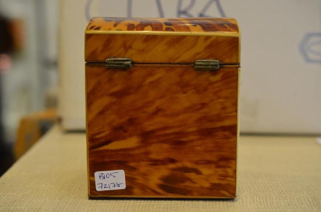 ANTIQUE TORTOISE SHELL LINED TEA CADDY - 7