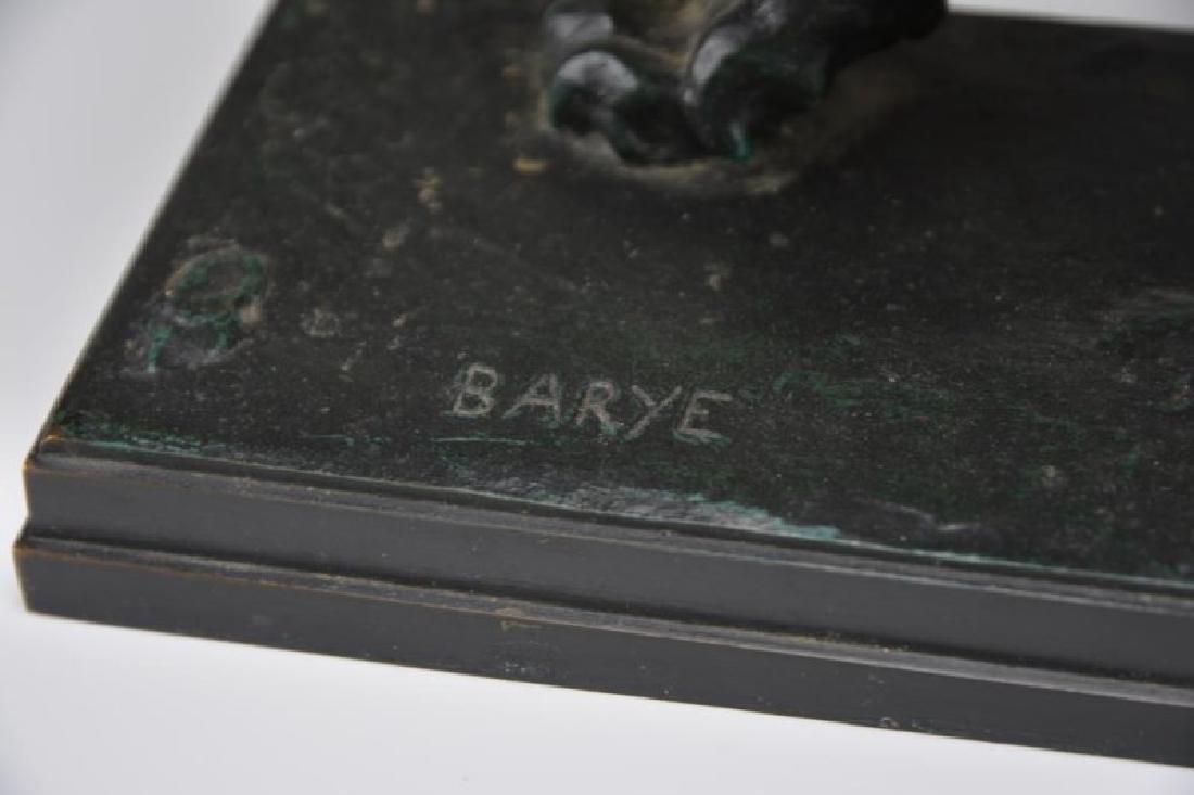 FRENCH BRONZE LION, SIGNED BARYE - 3
