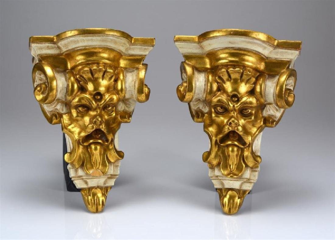 PAIR OF CARVED GILTWOOD WALL BRACKET