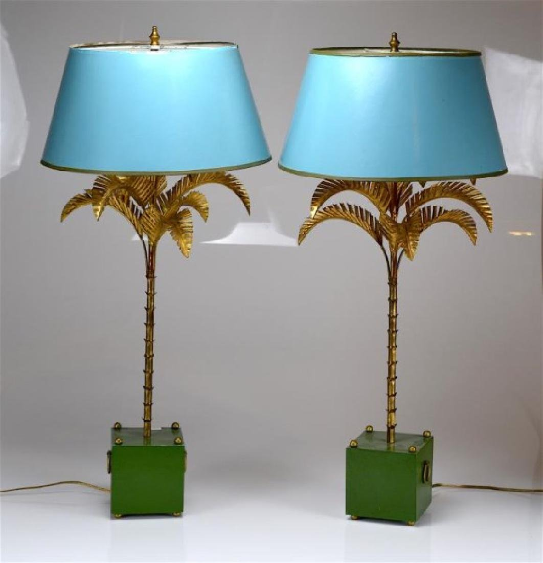PAIR OF VINTAGE PALM TREE TABLE LAMPS