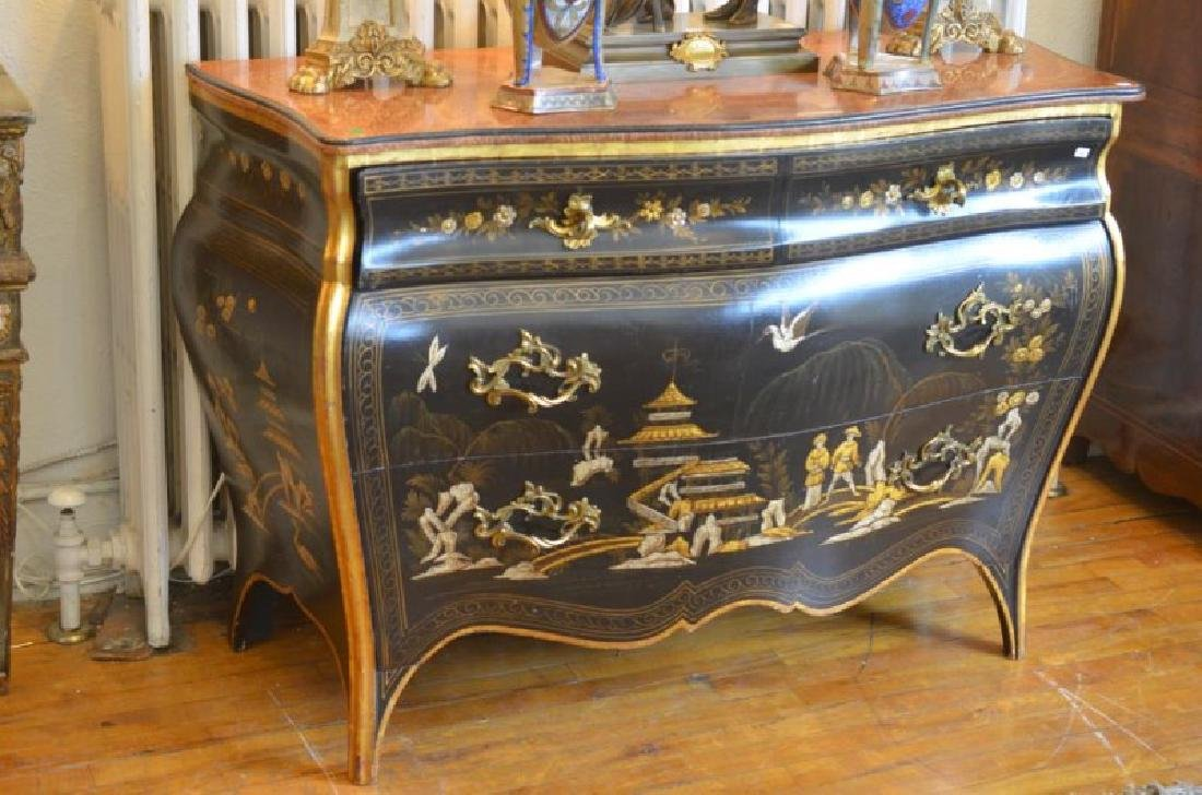CHINOISERIE PAINTED BOMBE COMMODE